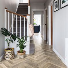 Create a sense of width in narrow hallways with Karndean& Knight Tile Lime Washed Oak Entrance Hall Decor, Hallway Ideas Entrance Narrow, Tiled Hallway, Modern Hallway, House Entrance, 1930s Hallway, Modern Staircase, Narrow Bedroom Ideas, Stairs And Hallway Ideas