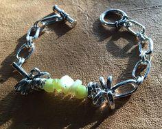 Handmade Men's Genuine Green New Jade Serpentine Stone Chainmaille Steampunk Goth Boho Linked Bracelet Jewelry by WishboneJewelryCraft on Etsy