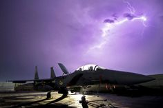 This is from Seymour JohnsonAFB. One of my best friends works on this jet. A U.S. Air Force F-15E Strike Eagle fighter aircraft is illuminated by a lightning storm near Bagram Air Field, Afghanistan, Oct. 6, 2011. (U.S. Air Force Photo by Tech. Sgt. Matt Hecht)
