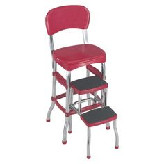 Had one as a kid. Would be fun to have one for the nostalgia. Except not in red. Cosco Retro Chair with Step Stool - Red Kitchen Stools, Red Kitchen, Vintage Kitchen, Bar Stools, Kitchen Ideas, Step Stools, Kitchen Redo, Kitchen Remodel, Kitchen Design
