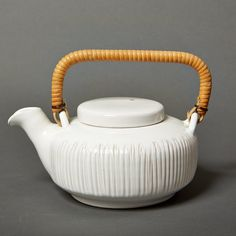 vintage tea pot white danish art pottery stoneware by northvintage, kr750.00