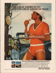 BVD Living Colors underwear 1980 vintage original old magazine ad man cowboy shaving in red underwear
