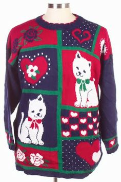 The Sweater Store Vintage Cat Christmas Sweater Giveaway! Cat Christmas Sweater, Christmas Cats, Cat Sweaters, Vintage Sweaters, Here Kitty Kitty, Kitty Cats, Ugly Sweater Party, Vintage Cat, Being Ugly