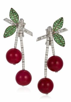 Michele della Valle cherry earrings with red agate beads, round diamonds and garnets in 18k white gold. Cherry Earrings, Emerald Earrings, Ruby Beads, Agate Beads, Diamond Flower, Diamond Cuts, Ruby Pendant, Red Agate, Flower Pendant