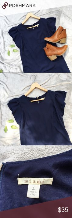 Navy Ruffle Sleeve Dress Gorgeous navy ruffle sleeve dress. Size is large. Zipper goes 3/4 down back of dress. Great condition! miami Dresses Midi