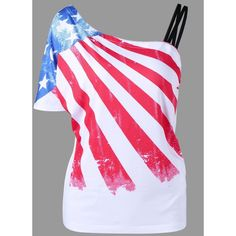 Skew Collar American Flag Print T Shirt ($14) ❤ liked on Polyvore featuring tops, t-shirts, collar top, american flag top, american flag tee, american flag t shirt and usa flag t shirt