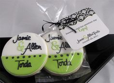 """Personalized wedding cookies to match invitations and programs! Cookies made by Joyful Cookies! Tags made by Smacc Dab Creative! These made """"sweet"""" wedding favors!"""