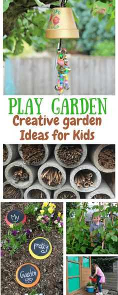 Creative ideas for a Family Friendly Garden. creative garden spaces & ideas for kids. Fun ideas to help your kids connect with nature and play outside #playgardens #springactivities #kidsactivities #gardensforkids #gardenideas