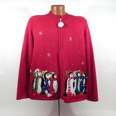 Ugly Christmas Sweater Vintage Cardigan Penguins Holiday Tacky Women's size XL
