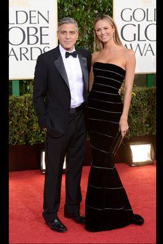 Celebrities en la alfombra roja de la 70 edición de los Globos de Oro: George Clooney de Giorgio Armani y Stacy Kiebler de Armani Privé