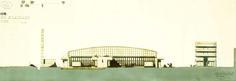 """GLAUCO GRESLERI, """"Complesso di esposizione e servizi per autoveicoli a San Lazzaro, Bologna"""" 1962, riproduzione fotografica da disegno a china, con trattamento ad aerografo del fondo, cm 34x81"""