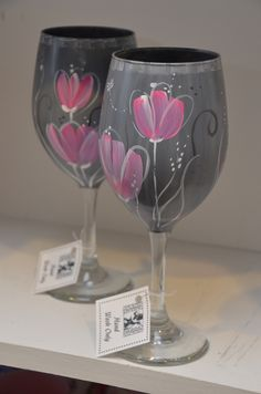Pink and Gray Floral hand painted wine glasses