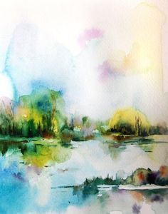 Summer Landscape Watercolor Painting Art Print Fine Art Print from Watercolor Painting Abstract Watercolour Wall Art  Professional quality art