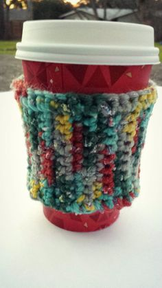 Multicolored Coffee Cozy with Wooden Button by splendidthings