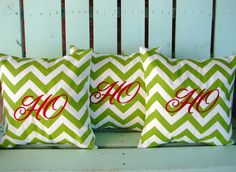 """Set of 3 14"""" X 14"""" Christmas green chevron print Ho Ho Ho embroidered Christmas- pillow cover-gifts under 50-throw pillow-accent pillow. $45.00, via Etsy."""