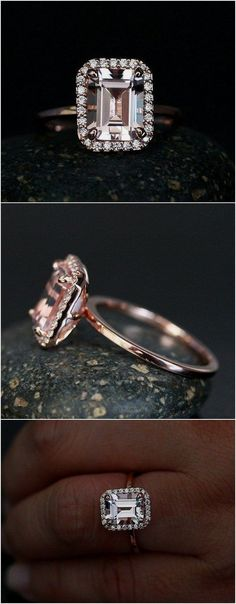 Morganite Emerald Cut Engagement Ring in 14k Rose Gold with Morganite 9x7mm and Diamond Halo / http://www.deerpearlflowers.com/emerald-cut-engagement-rings/ #halodiamond