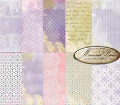 Watercolor Digital Paper / Pastel purple Geometric Watercolor Paper  Modern   Digital Watercolor Background   Sheets 12x12   (D12 009)