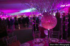 Centerpiece from a pink sparkling Bat Mitzvah designed by @xquisiteflowers #BatMitzvah #EventDecor #EventDesign