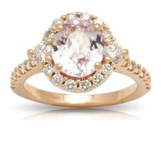 Estate Pink Sapphire & Diamond Ring in Rose Gold Sapphire Diamond, Halo Diamond, Rose Gold, Jewels, Engagement Rings, Stone, Collection, Enagement Rings, Wedding Rings