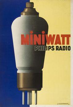 Miniwatt Philips Radio. By Adolphe Mouron Cassandre, 1931. http://www.museum-gestaltung.ch/de/ausstellungen/ausstellungen-2012/magie-der-dinge/