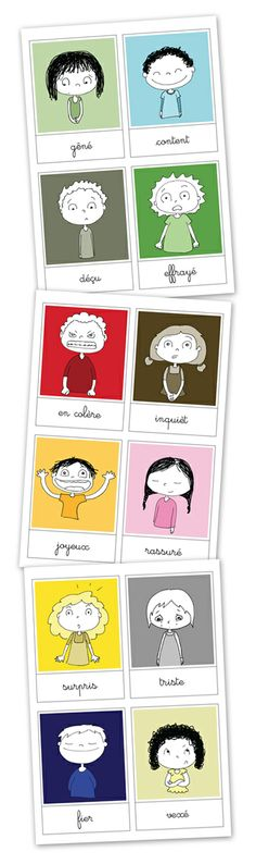 Really cute emotions cards (you can just modify the name to English or delete it all together). Autism Education, Education Positive, French Teacher, Teaching French, French Adjectives, French Education, French Classroom, Feelings And Emotions, Emotions Cards