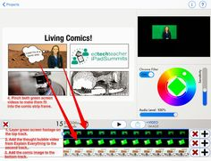 Living Comics App Smash with Explain Everything, Strip Designer, and Doink Green Screen... Very Clever! http://kulowiectech.blogspot.com/2015/02/living-comics-with-ipads.html