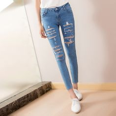 #aliexpress, #fashion, #outfit, #apparel, #shoes The, #spring, #<font><b>summer</b></font>, #of, #2016, #Korean, #female, #nine, #silver, #hot, #pants, #tattered, #jeans, #girl, #Slim, #Pencil, #jeans http://s.click.aliexpress.com/e/2vvBqB2ZR