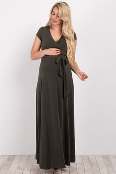 Olive Solid Short Sleeve Maxi Dress