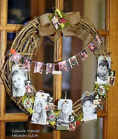 Family photo wreath -- This would be great with our grandchildren for our new building!  Love love  Glad we have a new printer just for printing photos!