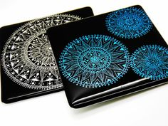 Fused glass art mandala. Blue on black cogs ethnic by SerdinyaArt