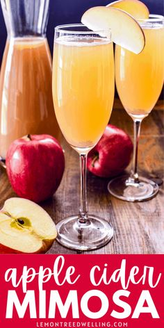 Mimosas are a brunch time favorite... and this apple cider version is perfect for fall! Made with just 3 simple ingredients, it's sweet, refreshing, and SO delicious!