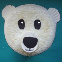 Polar bear (Japanese bread crumbs & paper plate) or DIY kid craft with fruit cup for nose and cotton balls for fur