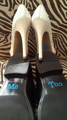 I Do and Me Too Shoe Stickers Clear / Blue by BrideBikini on Etsy, $9.00