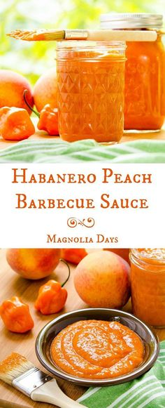 Homemade Habanero Peach Barbecue Sauce: thick, rich, fruity, sweet, and has a kick of heat from fresh peppers. Hot Sauce Recipes, Barbecue Sauce Recipes, Grilling Recipes, Vegetarian Grilling, Bbq Sauces, Healthy Grilling, Vegetarian Food, Veggie Food, Salsa Picante