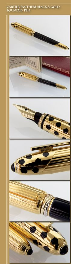 CARTIER Panthére Black & Gold Fountain Pen (metal body with lacquer inlays, gold-plated cap and trim, synthetic cabochons, 18kt gold nib) - 1990s / France