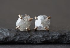 Natural Rose Cut Diamond Slice Stud Earrings- gold - as seen in LUCKY magazine, People Style Watch and Martha Stewart Weddings Rough Diamond, Rose Cut Diamond, Diamond Studs, Diamond Earrings, Stud Earrings, People Style Watch, Champagne Diamond, Fancy, Modern Jewelry