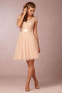 Short Sleeved Lace Trimmed V Neck Knee Length Champagne Tulle Bridesmaid Dress