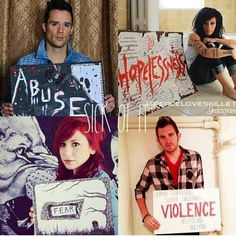 Skillet- Sick of It: the members of the band holding signs with things they went through.<<< This is why we love them