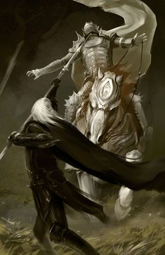 "Elric defending himself from the deranged pearl warrior whilst traversing the dream realms in the novel ""the fortress of the pearl"".  Elric's BoneRider by ghostbow on DeviantArt"