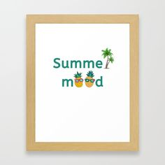 Summer Mood Pineapple Palm Trees Framed Art Print by Pineapple Palm Tree, Inspire Others, Inspirational Gifts, Say Hello, Home Deco, Palm Trees, Home And Living, Framed Art Prints, Interior And Exterior