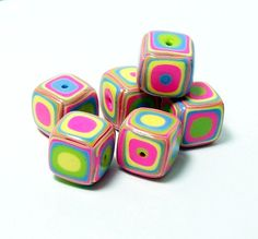 Summer Bright Colors  Square Handmade Beads  by BarbiesBest, $7.50