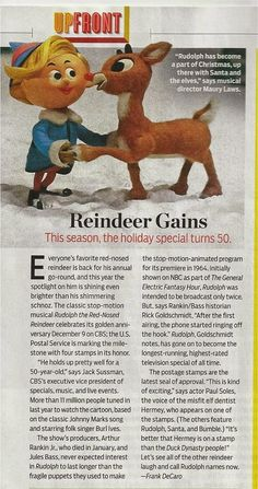 Rankin/Bass-historian: TV GUIDE magazine article on Rankin/Bass' Rudolph . Christmas Tv Shows, Kids Christmas Movies, Old Christmas, Christmas Scenes, Rudolph Red Nosed Reindeer, Rudolph The Red, Animated Reindeer, Flintstone Cartoon, Childhood Toys