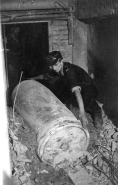 An unexploded shell from German Karl-Gerät self-propelled howitzer, basement of Prudential building, Warsaw, Poland, 30 Aug 1944