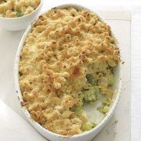 Baked Macaroni and Cheddar...has a layer of broccoli underneath :)