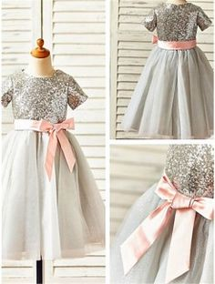 cad4d7ccc81 A-line Princess Scoop Short Sleeves Sequin Tea-Length Tulle Flower Girl  Dresses