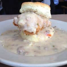 The Big Nasty Chicken biscuit at Hominy Grill in Charleston, SC. Fried chicken, cheddar, sausage gravy and a first-class biscuit--anything but nasty!