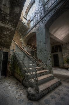 Stairs leading to the basement of an abandoned military hospital in Germany that was operational during World Wars 1 & 2.