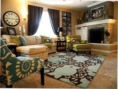 Frames... patterned chair... rug... if this were my living room I wouldn't complain.