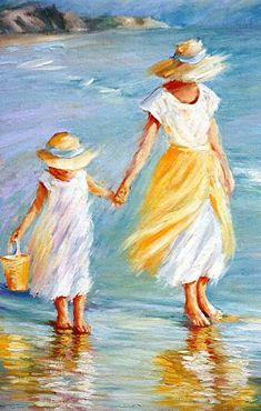 "Mother and Daughter to September McGee Oil ~ 16 ""x - Art Painting Mother Painting, Painting People, Pastel Art, Beach Art, Acrylic Art, Beautiful Paintings, Painting Inspiration, Art Pictures, Painting & Drawing"