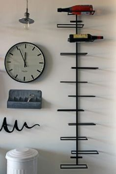 Black Large Wall Mounted Wine Rack. Also like the bin, and cutlery holder. Possibly nice with storage basket.
